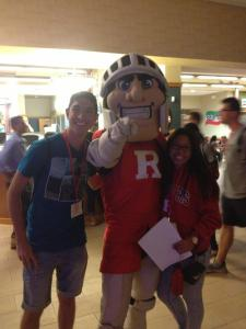 My friend and I took a picture with a Rutgers Scarlet Knight!