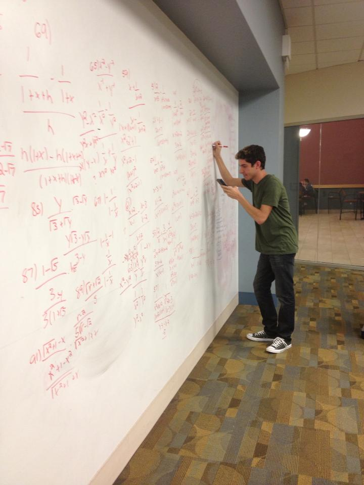 Studying for calculus at Rutgers.