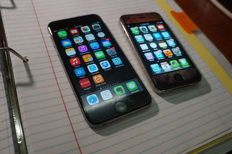 My new iPhone 6 (left) beside my old iPhone 4S (right).