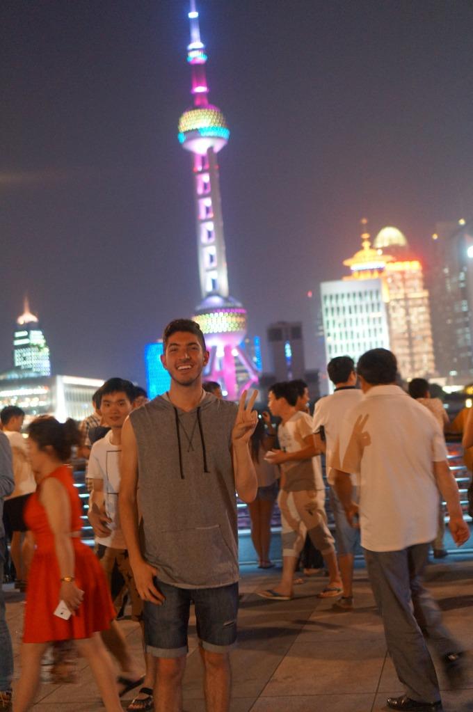 Me at Bund and Oriental Pearl Tower