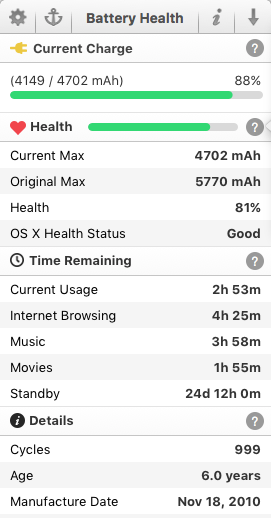 MacBook Pro Battery Health Stats